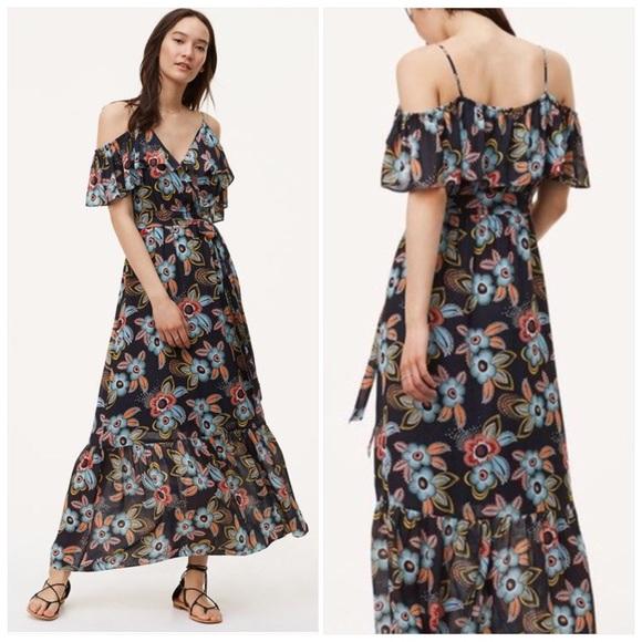 2c0c8fdc6353 Loft Summer Floral Cold Shoulder Maxi Dress